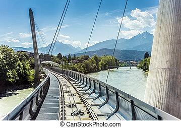 Innsbrucker Nordkette cable railways in Austria. -...