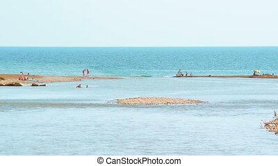 inny, jeden, tropikalny, morze, rzeka, plaża, bok