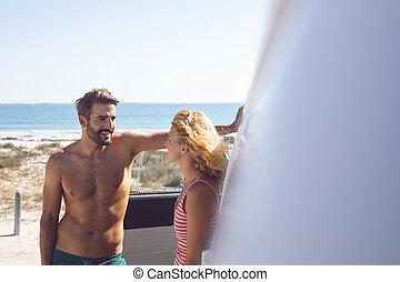 inny, para, światło słoneczne, mówiąc, obozowicz, każdy, awangarda, plaża