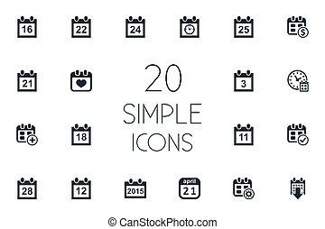 inny, wektor, ostateczny termin, icons., synonyms, elementy, komplet, dwadzieścia-jeden, kalendarz, clock., ćwierci, osiem, prosty, ilustracja, dolar