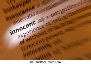 inocente, -, diccionario, definición