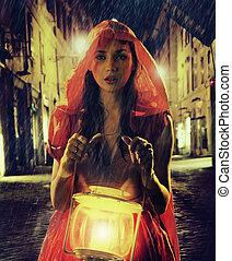 inocente, mulher, em, vermelho, segurando, a, lanterna