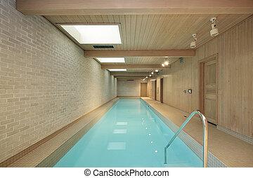 inomhus, länge, slå samman, simning