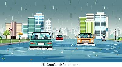 inondé, city., pluie