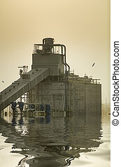 inondé, industriel, complexe