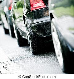inondé, pluie, confiture, trafic, cause, autoroute