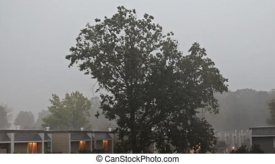 inondé, pluie, lourd, pendant, averse, rue ville, ...