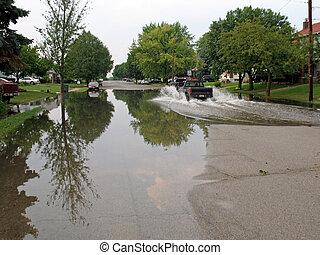 inondé, rue