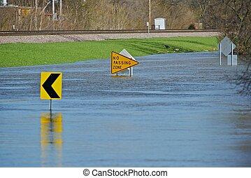 inondé, rue ville