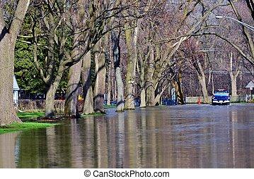 inondé, rues