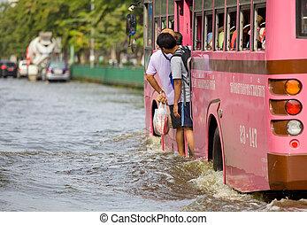 inondation, accès, central, thaï, thaïlande