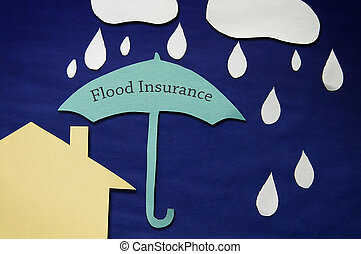 inondation, assurance, concept