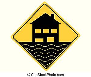 inondation, blanc, avertissement, panneau de signalisation