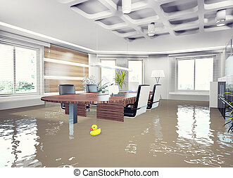 inondation, bureau, interior.