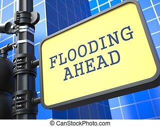 inondation, concept., roadsign., désastre, devant