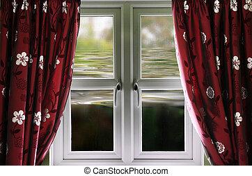 inondation, maison, haut, à, fenêtre