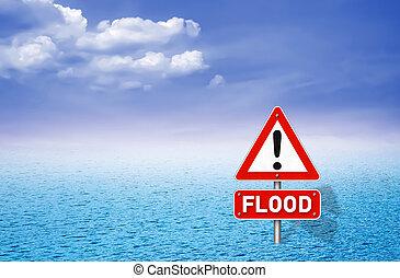 inondation, panneau avertissement