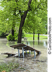 inondation, parc