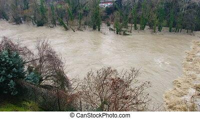 inondation, rivière, débordement