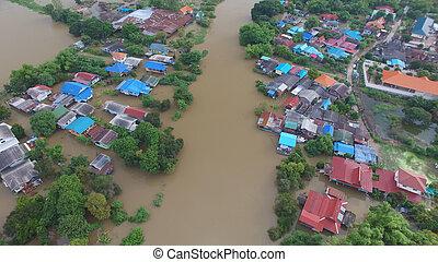 inondation, vue aérienne