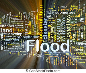 inondazione, fondo, concetto, ardendo