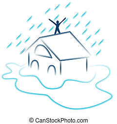 inondazione, lampo, emergenza