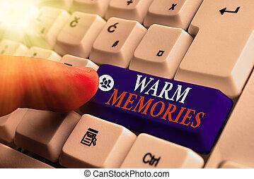 inoubliable, business, photo, memories., projection, écriture, texte, évoquer souvenirs, conceptuel, main, collection, chaud, events., passé