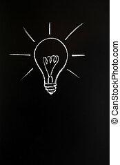 inovação, bulbo, luz
