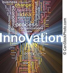 inovação, negócio, fundo, conceito, glowing