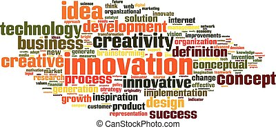 inovação, palavra, nuvem