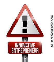 inovador, empresário, sinal aviso