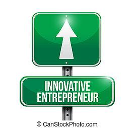 inovador, empresário, sinal rua