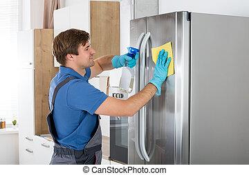 inoxidável, limpeza, refrigerador, homem