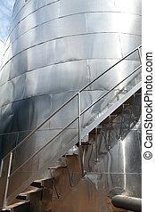 inoxidável, silo, closeup