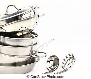 inoxidable, batería de cocina, acero, grupo