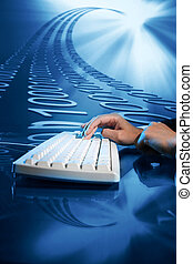 input data - businessman input data information on keyboard
