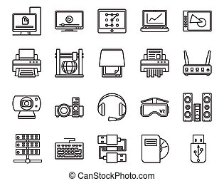 electronic and analog devices. basic set of linear icons