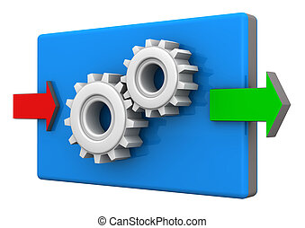 Input Output Gears - Input and ouput arrows with gears on...