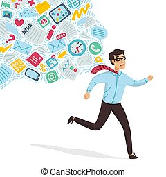 Input overloading. Information overload concept. Young man running away from information stream pursuing him. Concept of person overwhelmed by information. Colorful vector illustration in flat cartoon style