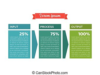 Input Process Output Infographic. Vector illustration