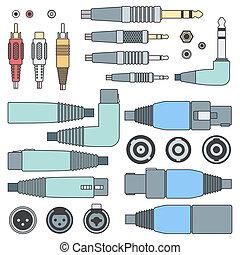 inputs, セット, アウトライン, 色, コネクター, 様々, オーディオ