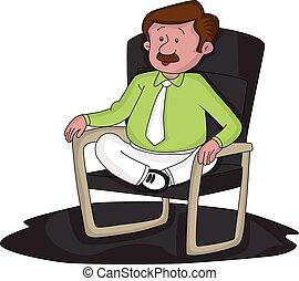 inquiété, vecteur, traversé, chair., homme affaires, jambes