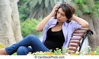 inquiet, girl, banc, adolescent, séance
