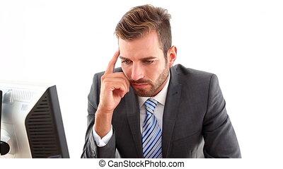 inquiet, homme affaires, sien, bureau
