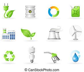 inquinamento, energia, icona, verde, aria
