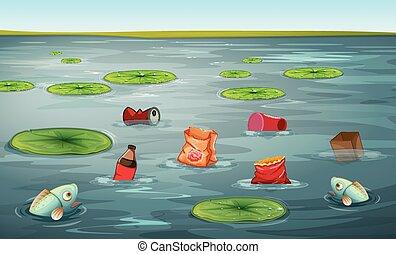 inquinamento, fish, acqua