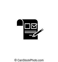 Inquiring black icon concept. Inquiring flat vector website sign, symbol, illustration.