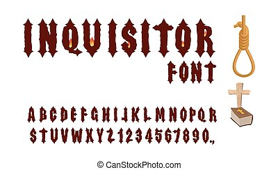 Inquisitor font. Ancient Gothic font. Font for Holy Inquisition. Medieval alphabet. Letters and numbers with  fire of fire. Accessories Inquisitor: Hangman, Bible and cross.