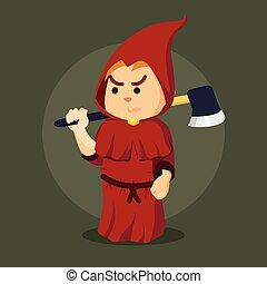 inquisitor holding axe illustration design