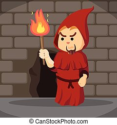 inquisitor holding torch in dungeon